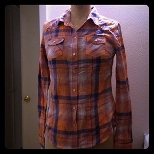 NWT mossimo coral/navy plaid long sleeve shirt